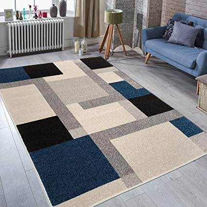 Prestige Decor Area Rugs 5x7 Living Room Rug Carpet Blue Grey Gray Rugs for  Living Room Bedroom Rug Clearance Geometric Design Kitchen Area Rugs 5x7 ...