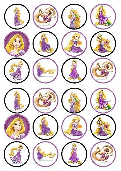 Princesa Rapunzel enredados comestible Premium de grosor edulcorados vainilla, oblea Rice Paper Cupcake Toppers/adornos