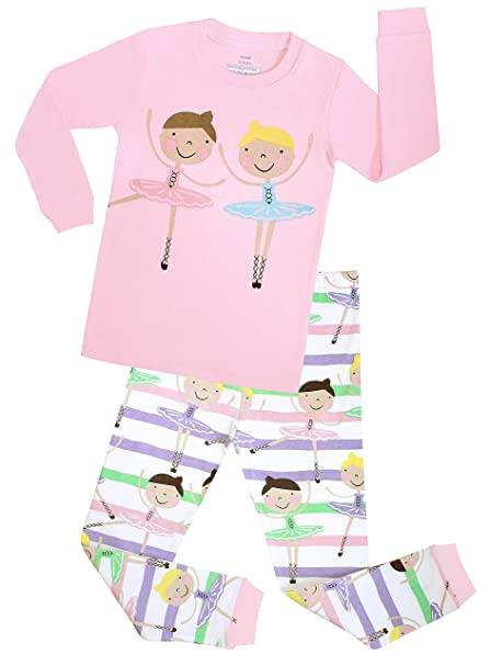 ef31f25741 Amazon.com  Elowel Girls Ballerina 2 Piece Kids Childrens Pajamas 100%  Cotton Toddler 2Y-8Y  Clothing
