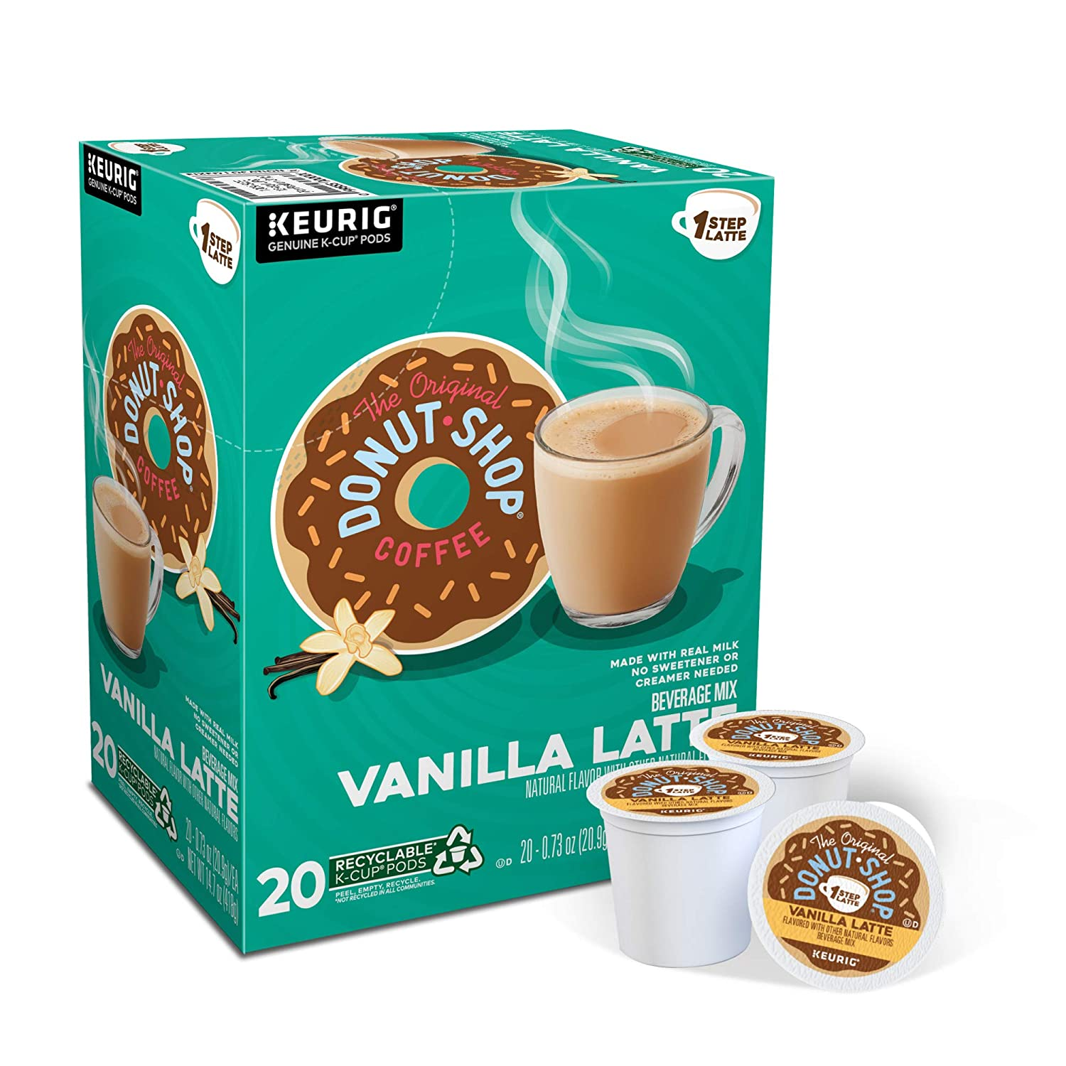 Amazon Com The Original Donut Shop Vanilla Latte Single Serve Keurig K Cup Pods Flavored Coffee 20 Count Grocery Gourmet Food