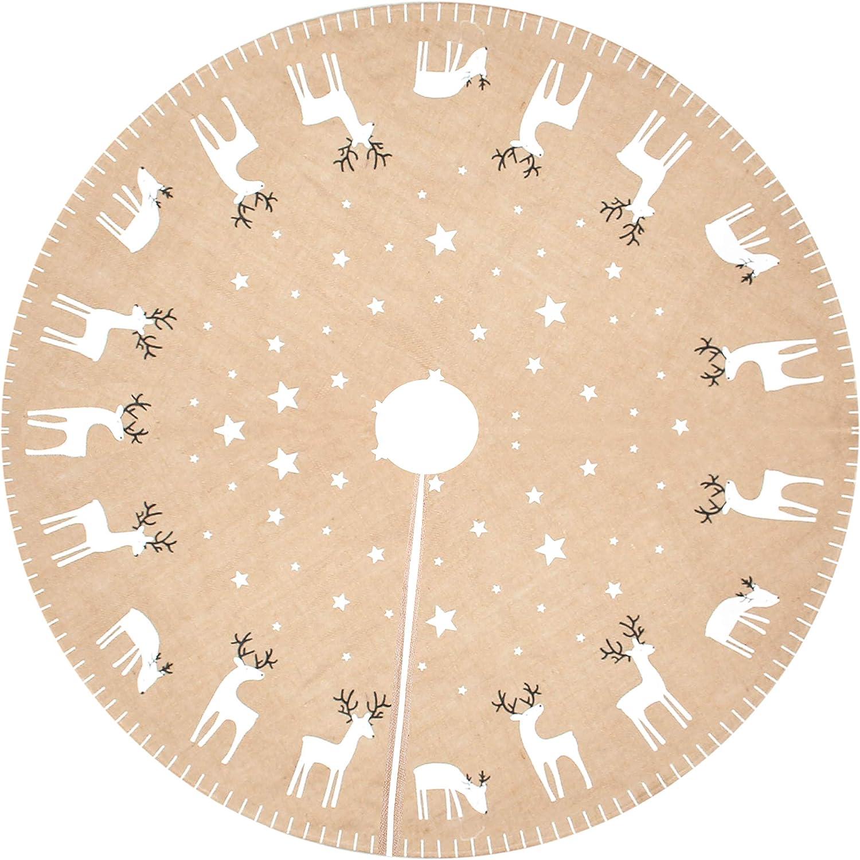 Costyleen Christmas Tree Skirt Holiday Decoations Xmas Tree Home Decor 43 inches Burlap Khaki Deer Pattern