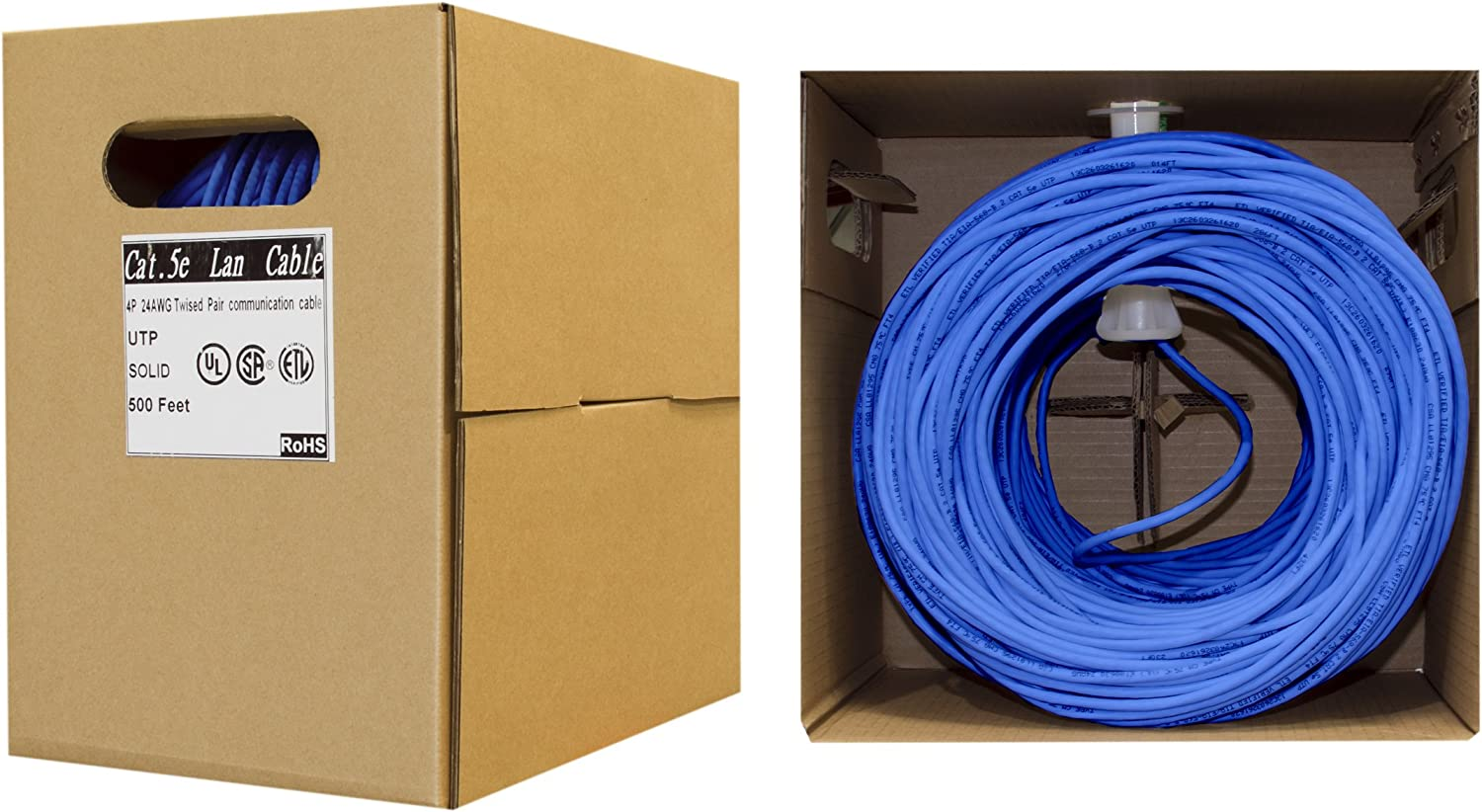 CMR ETL Listed 4 Pair Stranded Bare Copper Unshielded Twisted Pair Ethernet Cable 350 Mhz 24 AWG with Pull Box Blue 1000 Foot Bulk Cat5e Riser CableWholesale UTP