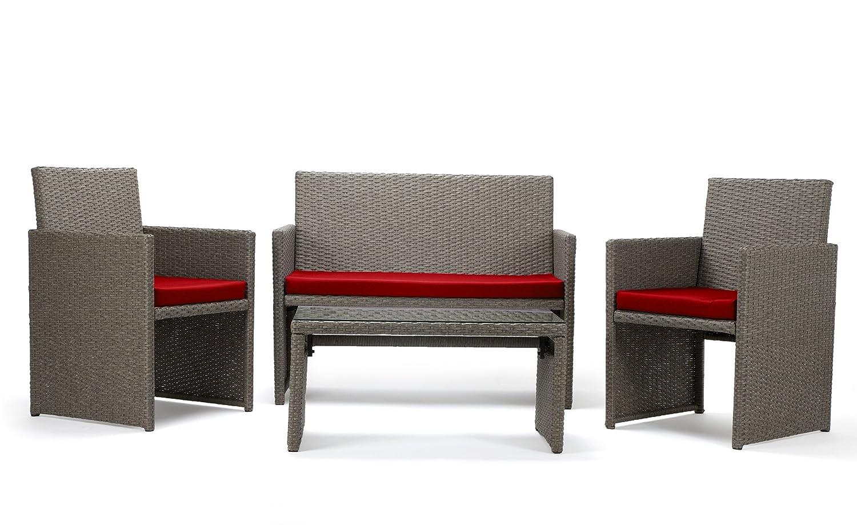 Rattan4Life Sitzgruppe Neapel, 4-teilig Deluxe Polyrattan Gartenmöbel Set, Sofa / Lounge / Gartengarnitur / Kissenbezüge, Rattan grau / braun, Bezug rot
