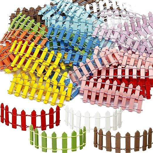 BBTO 60 Piezas Vallas de Jardín de Hadas de Miniatura 4 x 1, 2 Pulgadas 10 Colores Valla de Piquete para Decoración Bricolaje de Maceta Mini Paisaje: Amazon.es: Jardín