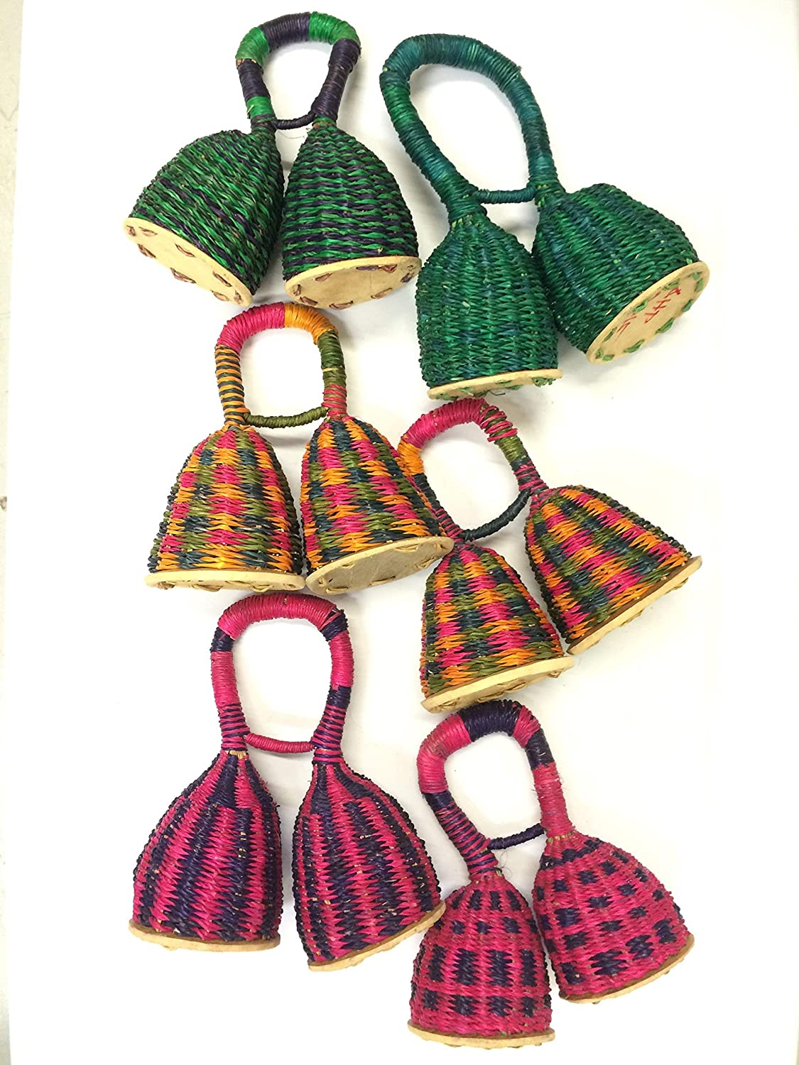 of African Double Woven Seed Caxixi Basket Shakers from Ghana Africa Heartwood Project Pair 2