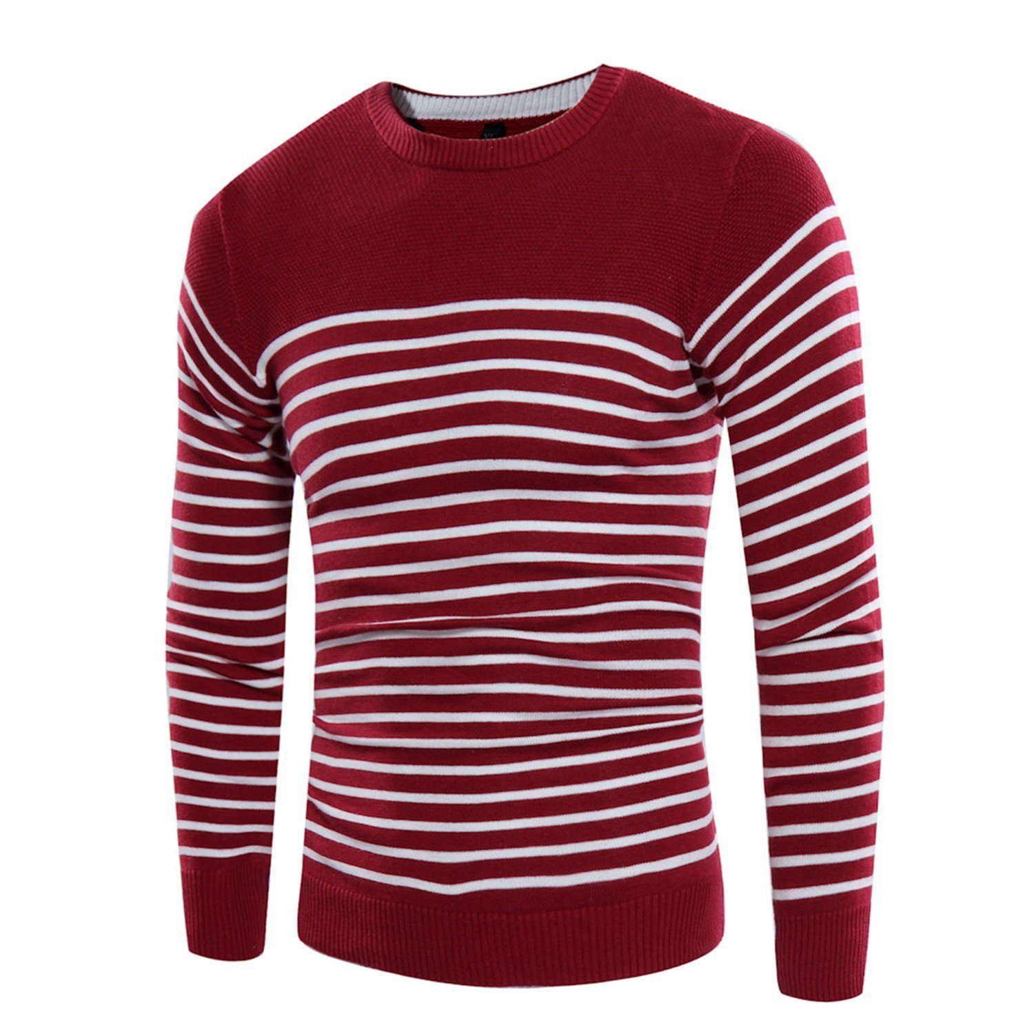 Cheryl Bull Trendy Knitted Sweaters O-Neck Jumper Men's Cotton Pullover Knitting White Black Navy Grey Striped Sweater Wine RedX-Large by Cheryl Bull Business-suit-vests (Image #2)
