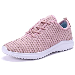 YILAN Women's Fashion Sneakers Breathable Sport Shoes (8.5, Pink)