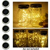 6 Pack Mason Jar Lights, 20 LED Solar Warm White Fairy String Lights Lids Insert for Garden Deck Patio Party Wedding…