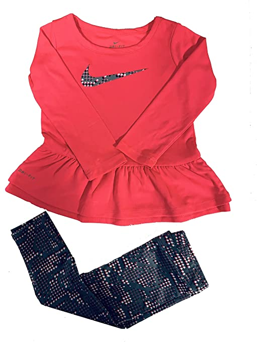 8845650d7abc Nike Babyr Girl Peplum-Hem Tunic   Print Leggings Set (12 Months)   Amazon.in  Baby