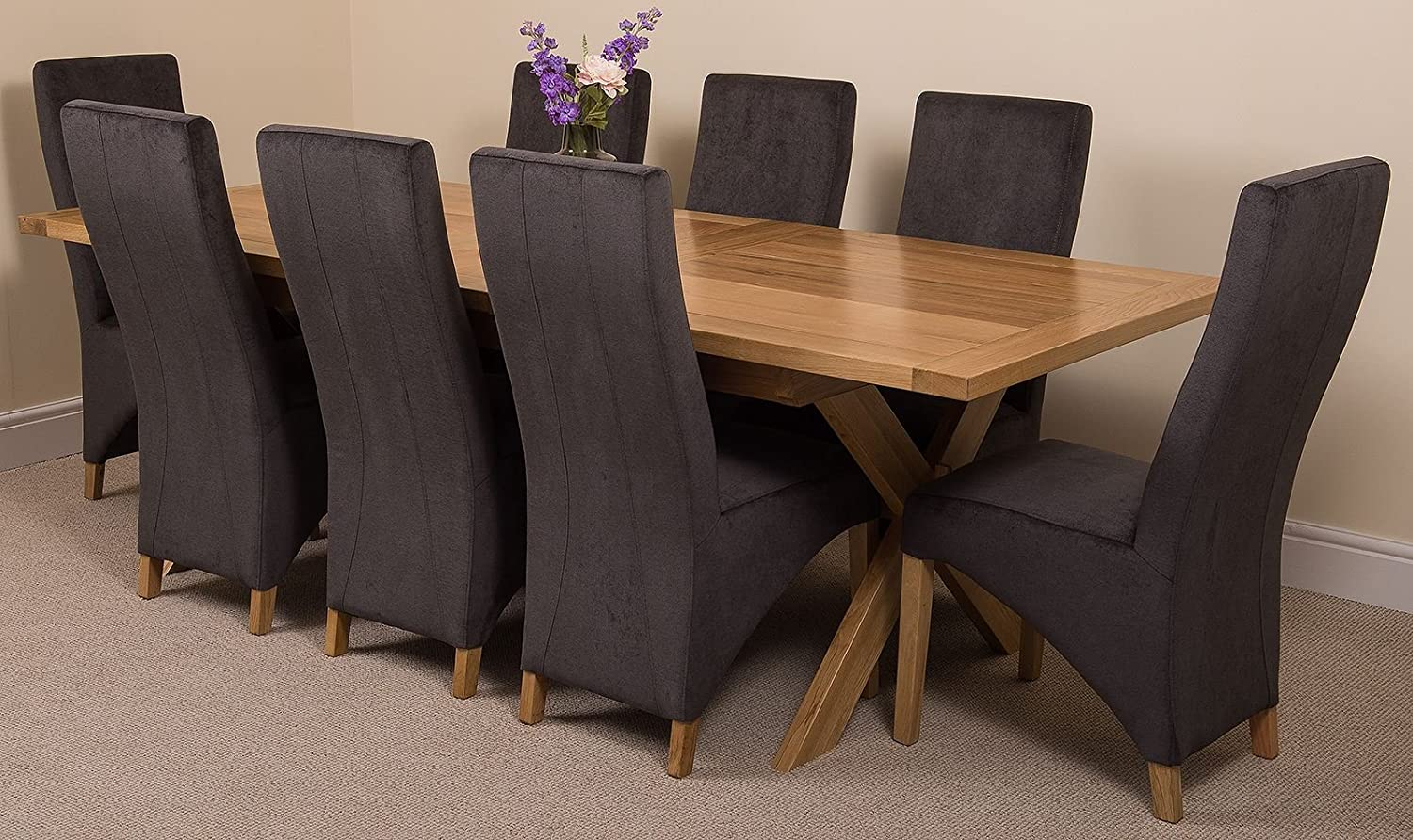 Modern furniture direct vermont extending kitchen solid oak dining set table 8 black fabric chairs amazon co uk kitchen home
