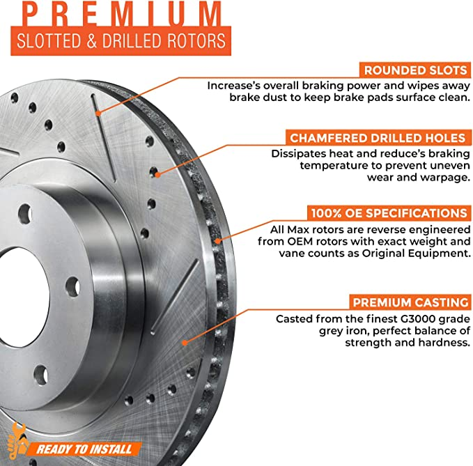 Max Brakes Front /& Rear Premium OE Rotors and Metallic Pads Brake Kit TA042043-2