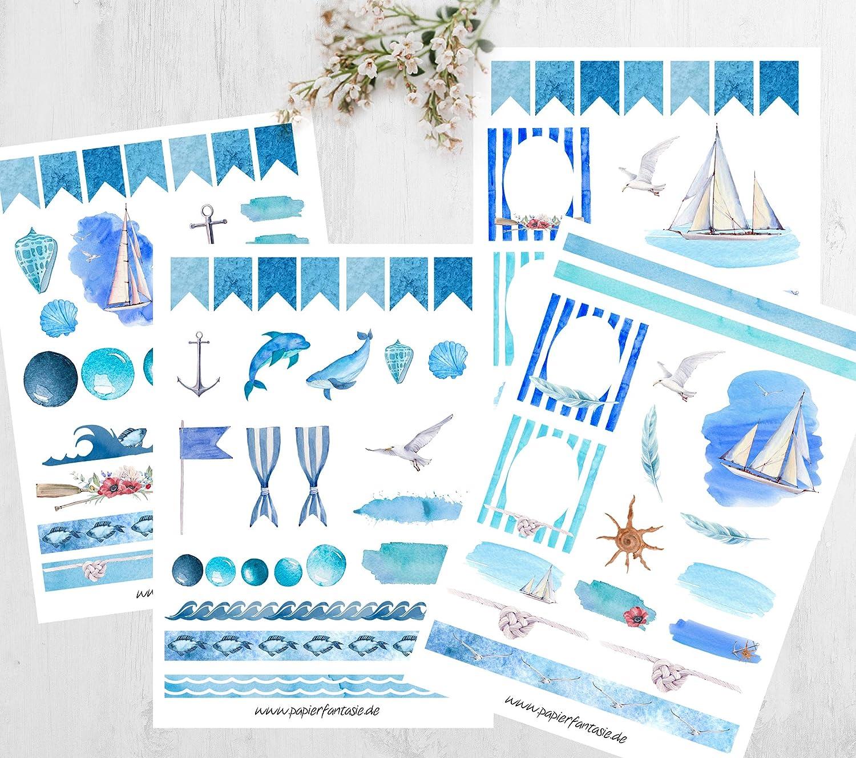 *Stickerset*Journal*Planner*Kalender*Nautical*Maritim*Blue*
