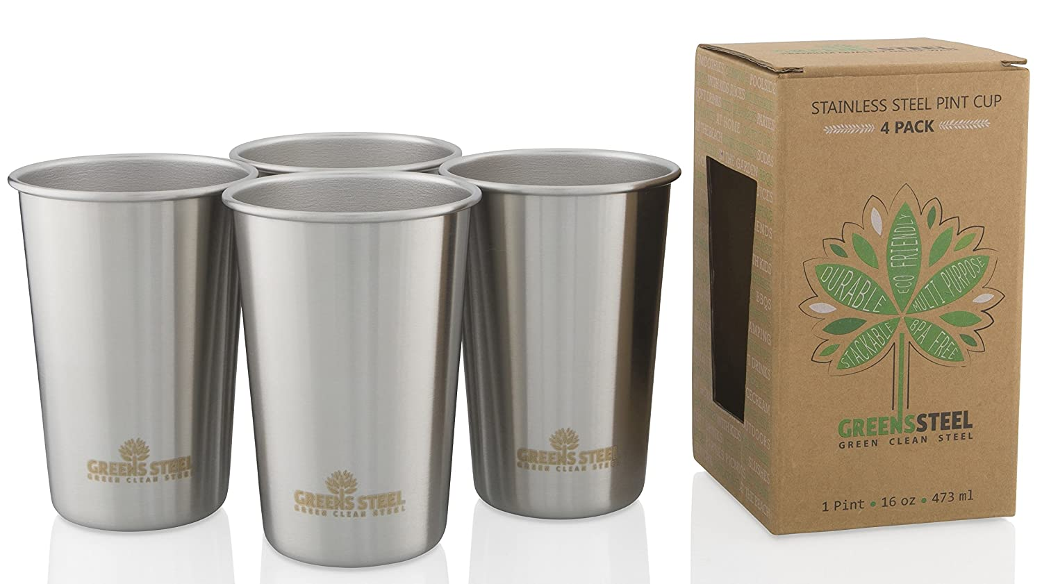 Stainless Steel Kids Cups 10oz Greens Steel SYNCHKG079535