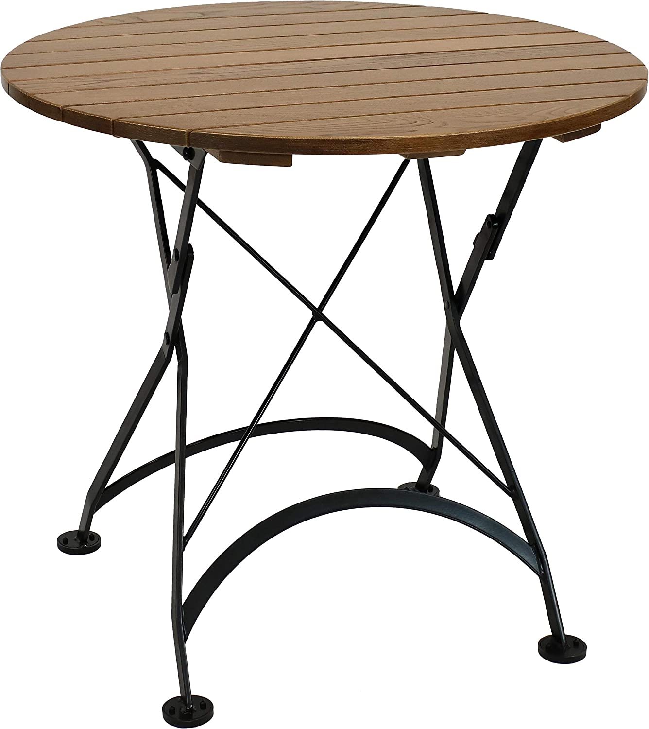 Amazon Com Sunnydaze European Chestnut Wood Folding Round Bistro Table Indoor Outdoor Table For Patio Kitchen Or Dining Room Foldable For Easy Storage 32 Inch Diameter Sunnydaze Decor Kitchen Dining