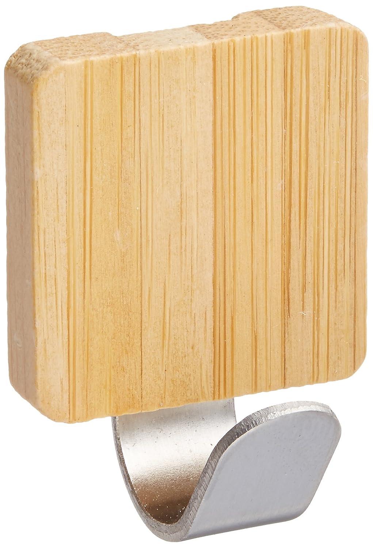 InterDesign Formbu Self-Adhesive Hooks, Organizers for Entryway, Kitchen, Bathroom, Office - Set of 2, Medium, Bamboo/Brushed Stainless Steel 92170