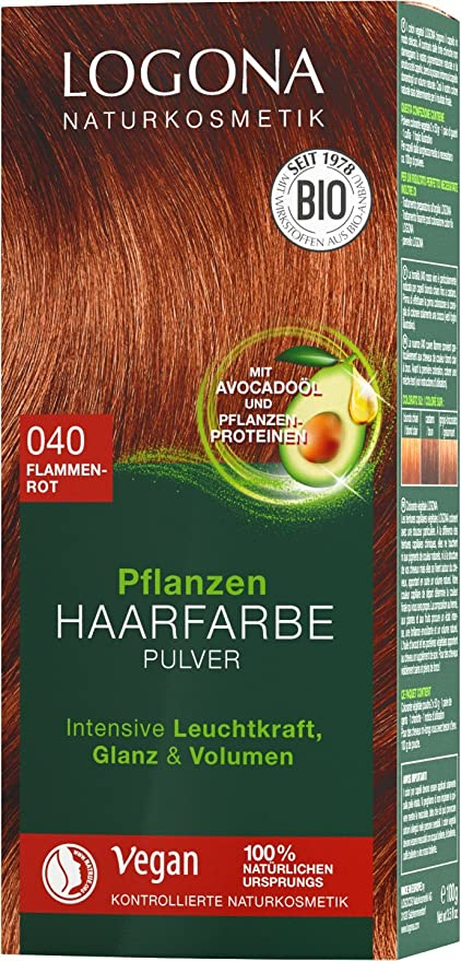 LOGONA Naturkosmetik Tinte para el cabello vegetal en polvo 040, rojo llama, con aceite de aguacate, rojo cobrizo, vegano y natural, color rojo ...