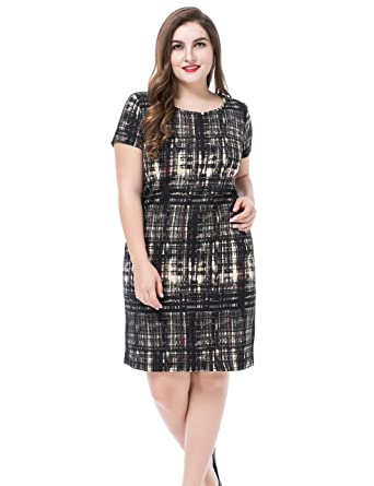 Chicwe Women\'s Plus Size Printed Casual Dress - Round Neck Short ...