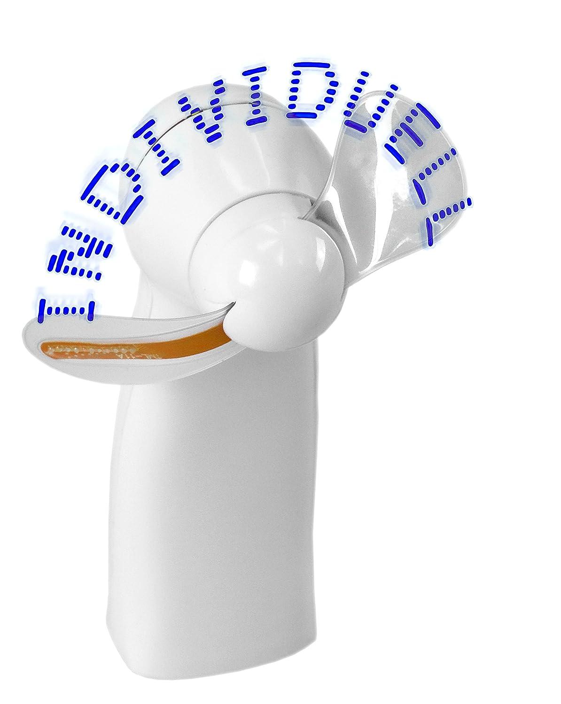 Schrift mit 11 blauen LED Handventilator Ventilator mit Ihrem Wunschtext individuell programmiert in 9 Zeilen mit je 19 Zeichen Leuchtventilator