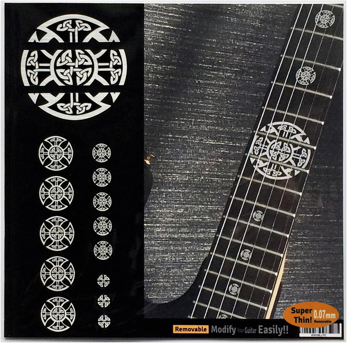 Emblema 12 marcadores de trastes en incrustaciones metálicas, calcomanía para guitarra, cruz celta