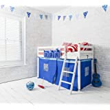 Noa and Nani - Ontario Midsleeper Junior Shorty Cabin Bed with Blue Tent - (White)