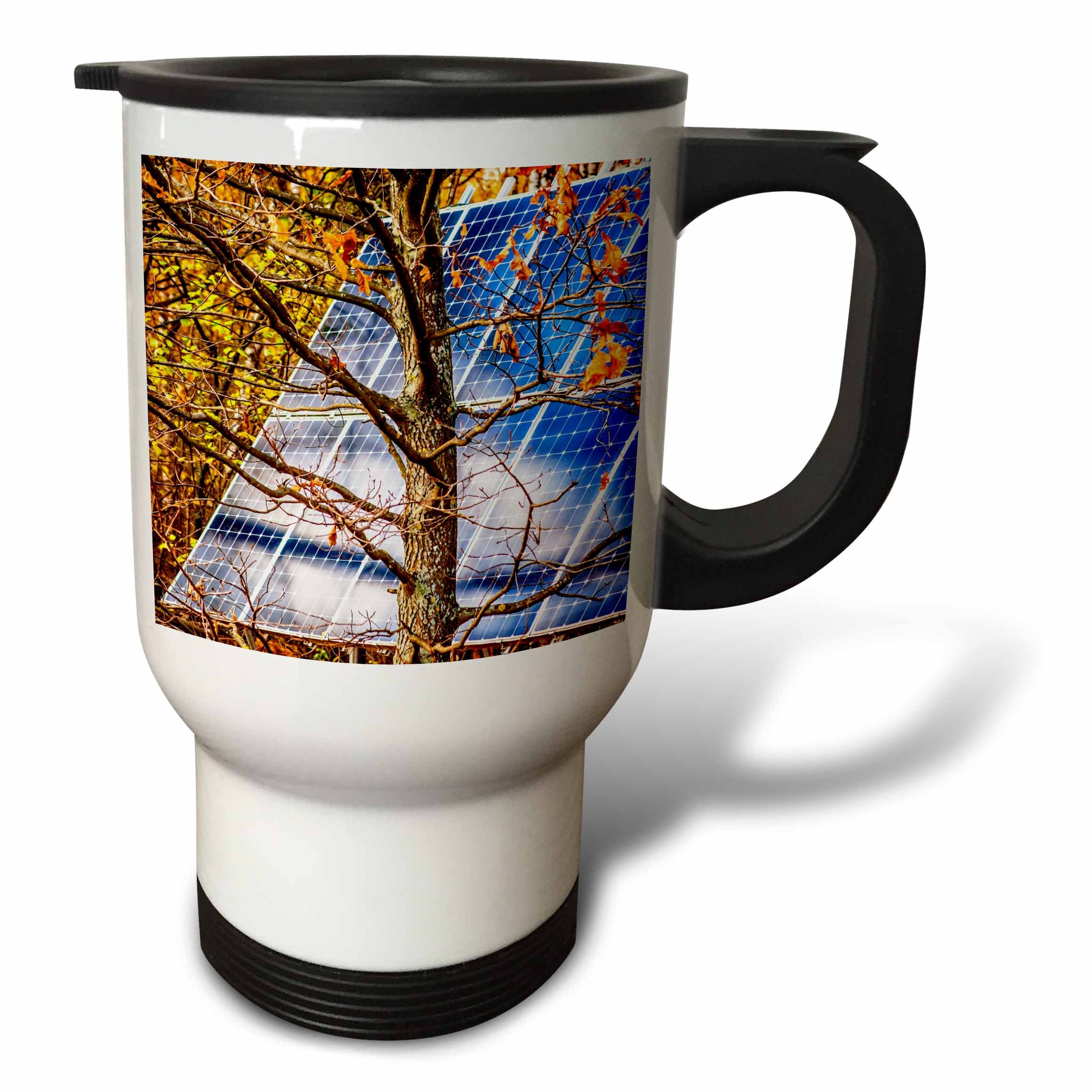 3dRose Alexis Photo-Art - Objects - Blue solar power panel in the autumn forest. Photosynthesis - 14oz Stainless Steel Travel Mug (tm_270321_1)