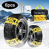 $35 » AgiiMan Snow Chains for Cars -Adjustable Emergency Anti-Skid 6Pcs Chains for Ice Road,…