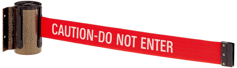 Gold Vein 13 L red Caution Do Not Enter Belt 4.5 H 2.75 L 2 Wide 3.75 W Tensabarrier 896-STD-65-MAX-NO-RGX-B Standard Mount Wall Unit with Panic Break Belt End