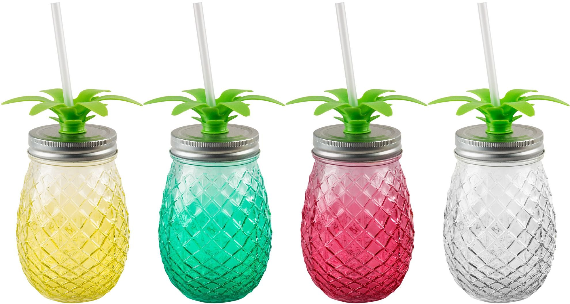 Durable Glass Mason Jar Sipper with Straw, (Set of Four Pineapple)