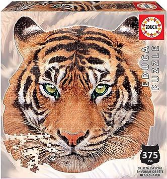 Educa Borras - Serie Animal Face Shaped, Puzzle 375 piezas, Tigre ...