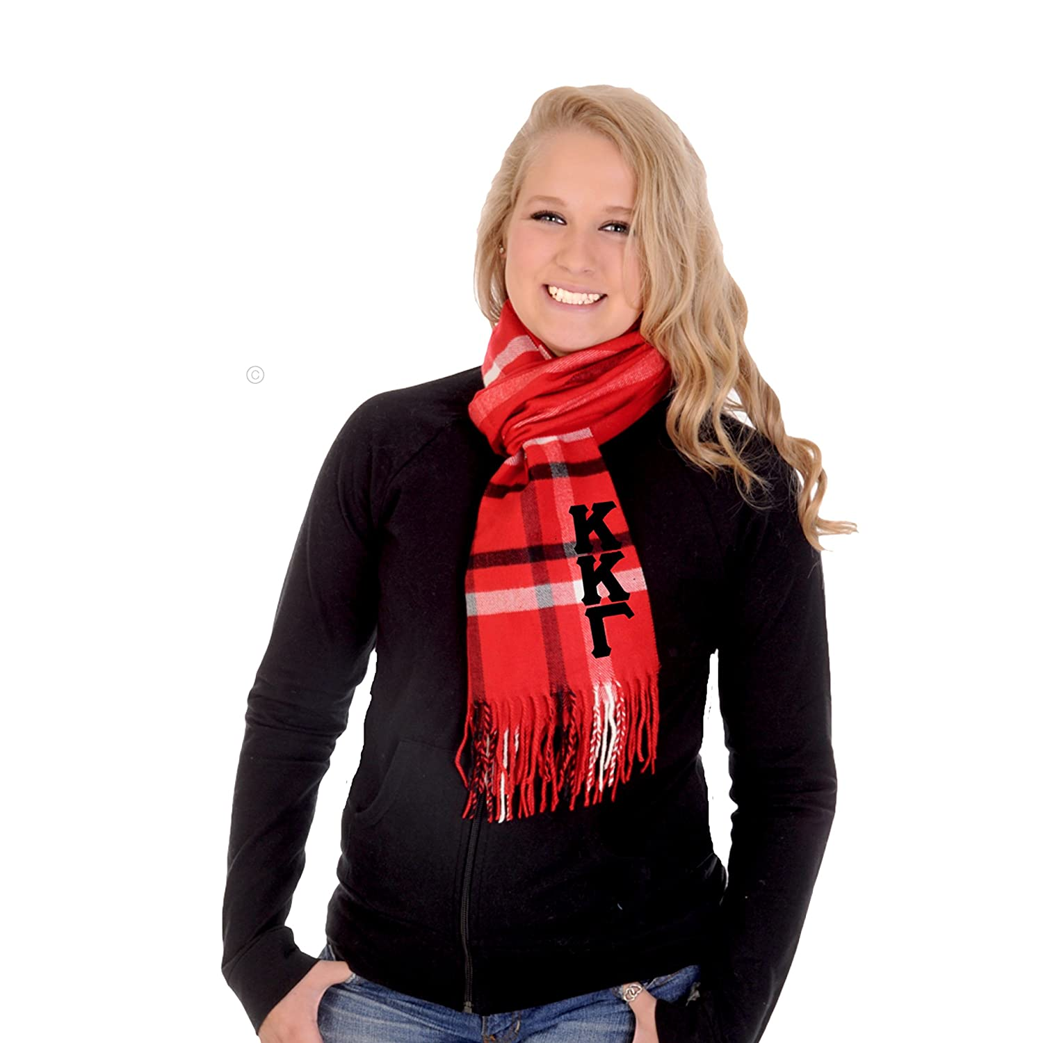 Kappa Kappa Gamma Scarf Red Plaid with Black Greek Letters