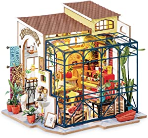 Rolife DIY Miniature Doll House Kit with Furniture for Children Adult Wooden Kits Toy (Emily's Flower Shop)