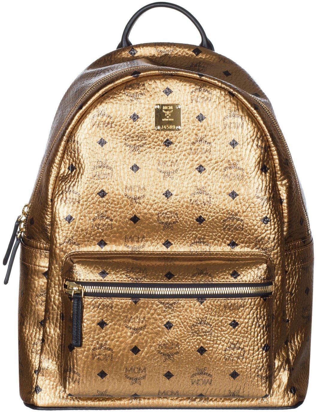 MCM Unisex Gold Weekender Visetos Backpack Bag