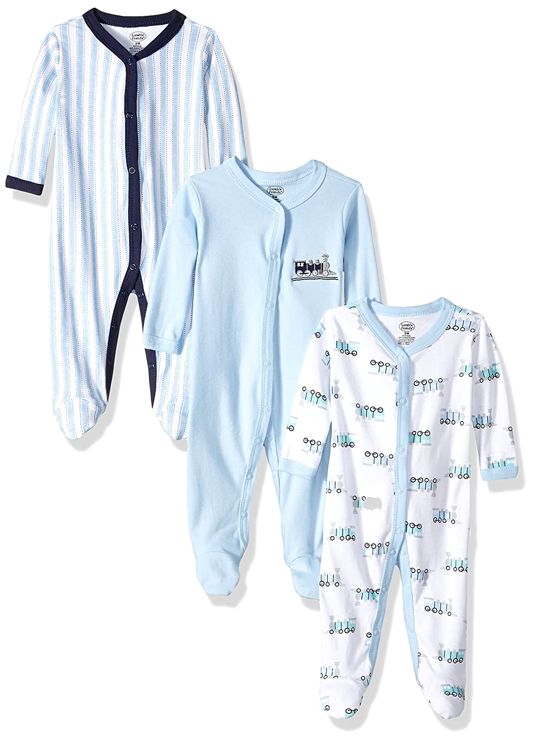 Luvable Friends Unisex-Baby Baby Snap Sleep and Play, 3 Pack 33314L