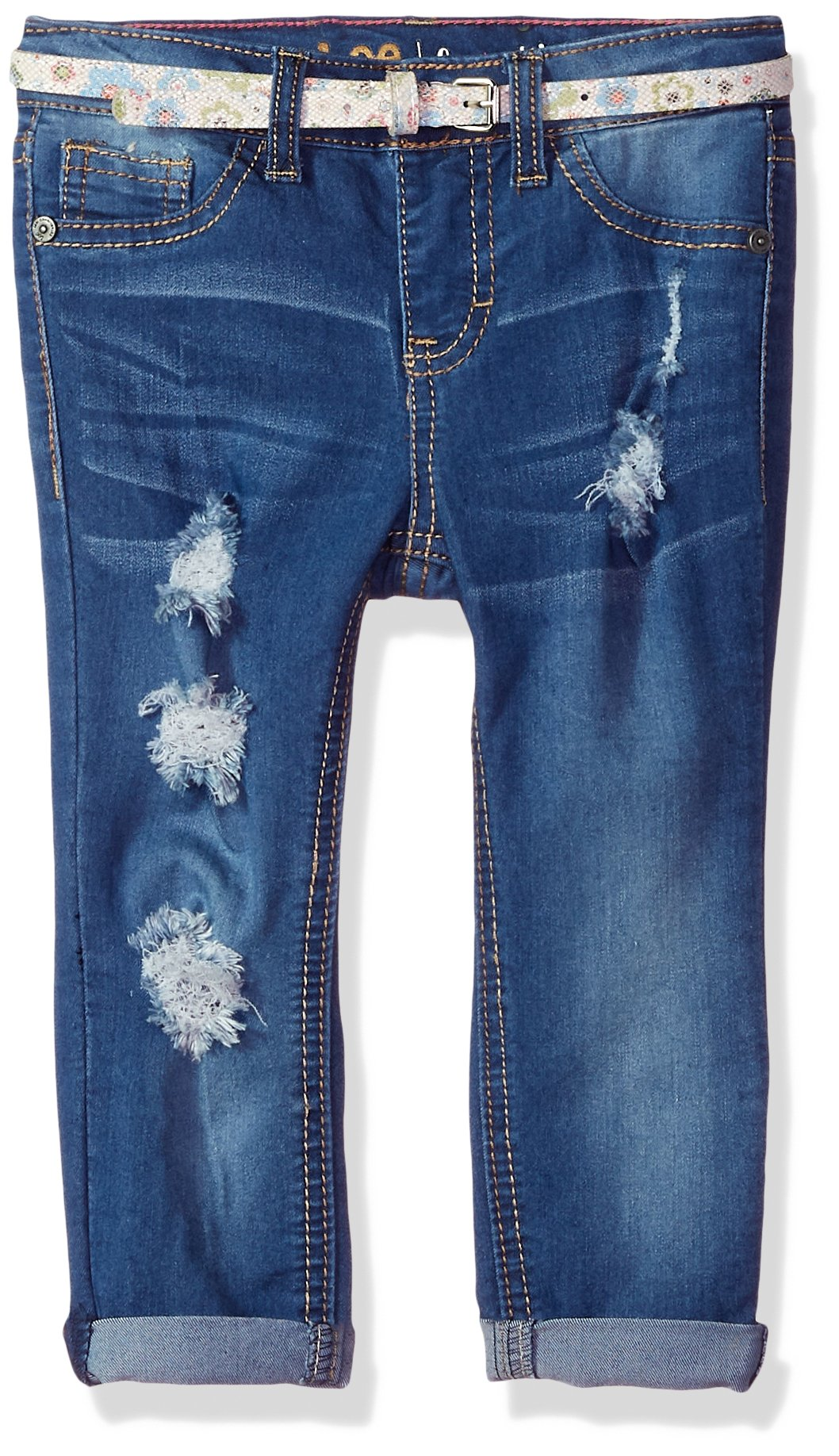 LEE Toddler Girls' Belted Skinny Jean, Shaken Blue, 4T by LEE (Image #1)