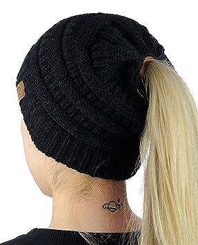 HMILYDYK Women Cable Knit Beanie Tail Hats Soft Stretch Ponytail Messy Bun  Head Wrap Cap for 69a2912655b1