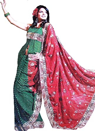 Bandini Saree - Green and Red Georgette Indian Cocktail Party Dress ~ One Size