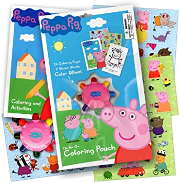 Peppa Pig On The Go Coloring Pouch Activity Set With Stickers Coloring Pages And Coloring Wheel Also Included Is 1 Large Coloring Fun Sticker Amazon De Spielzeug