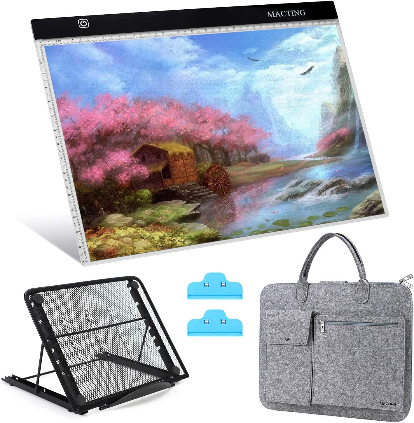 A5 Set with Bag Painting Pen Cross Stitch Tool Kit for Artists Drawing Sketching Animation Stenciling and X-Ray Viewing DIY Art Craft A5 LED Light Tablet Board Pad with Carry Bag