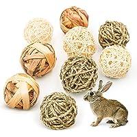 9 Pcs Small Animals Chew Toys, Rabbit Chew Balls, Grass Toys Natural Balls Treats for Rabbits Guinea Pigs Chinchilla…