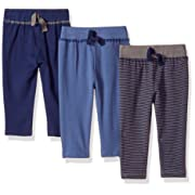 Hudson Baby Cotton Pants, 3 Pack, Navy/Gray Striped, 0-3 Months (3M)