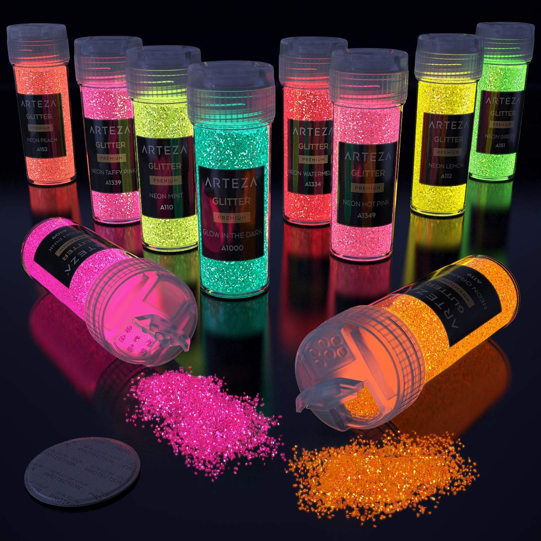 ARTEZA Fine Glitter, Set of 48 Colors, Shaker Jars (0.34oz/9.6 g) Glow Under UV Black Light, Extra Fine, All Purpose for Body, Face, Slime, Crafts by ARTEZA (Image #6)