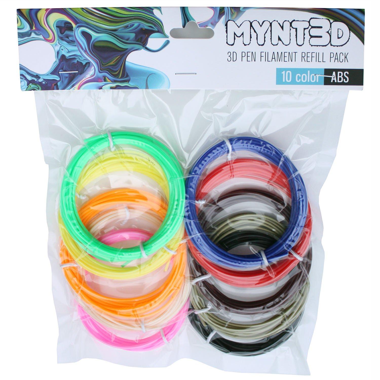MYNT3D PLA 3D Pen Filament Refill Pack 10 Color, 3m Each
