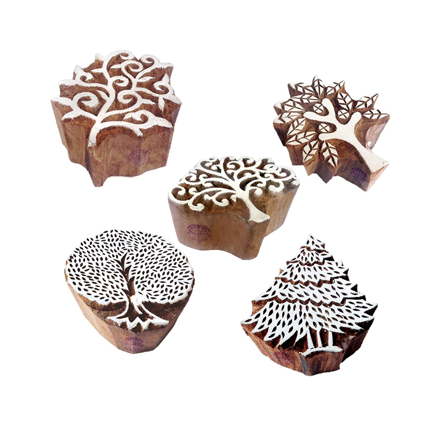 Royal Kraft Decorative Motif Tree and Leaf Block Print Wood Stamps (Set of 5) Htag1146