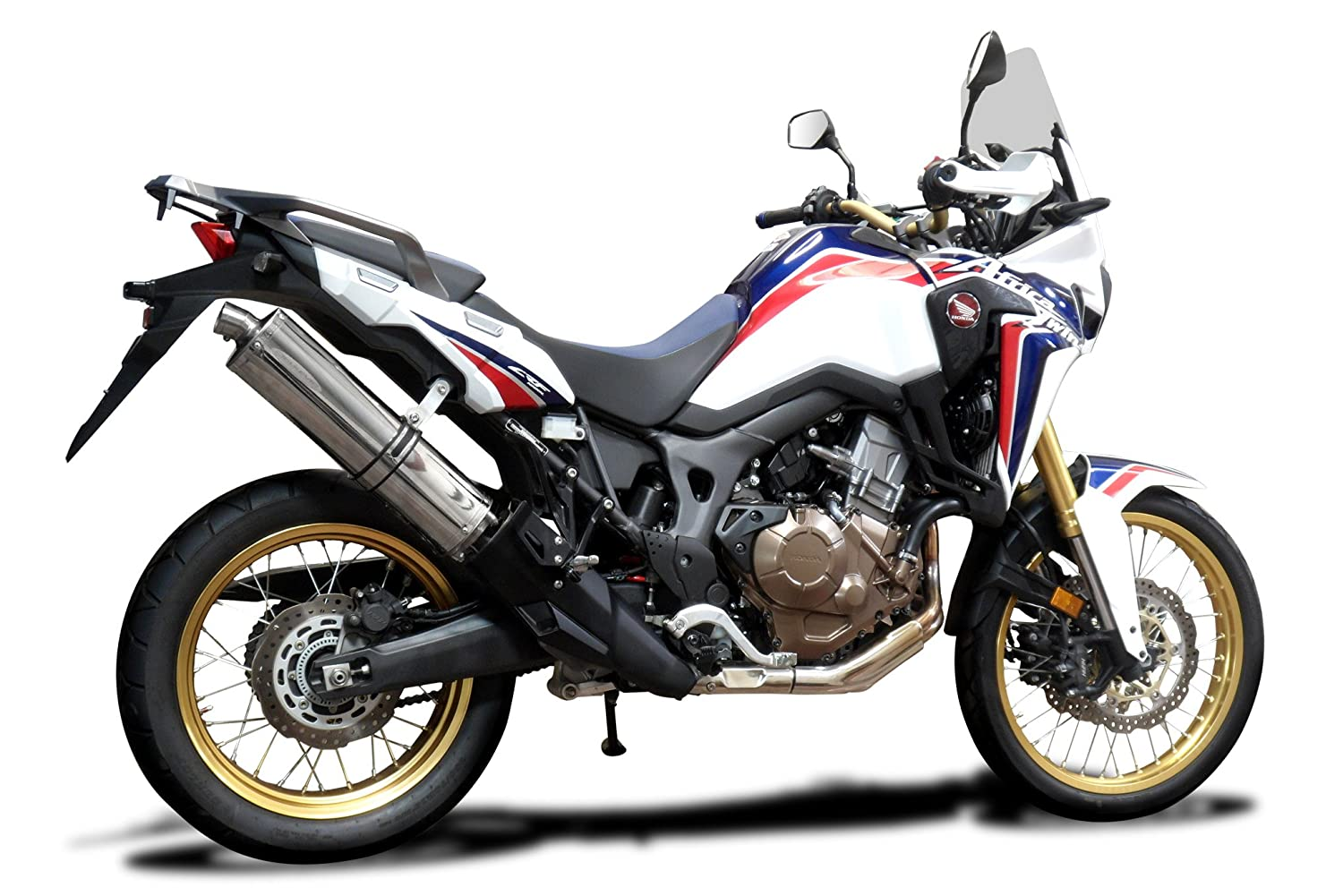 Honda Africa Twin CRF1000L Slip On Exhaust 18 Stainless Steel Oval 16 17