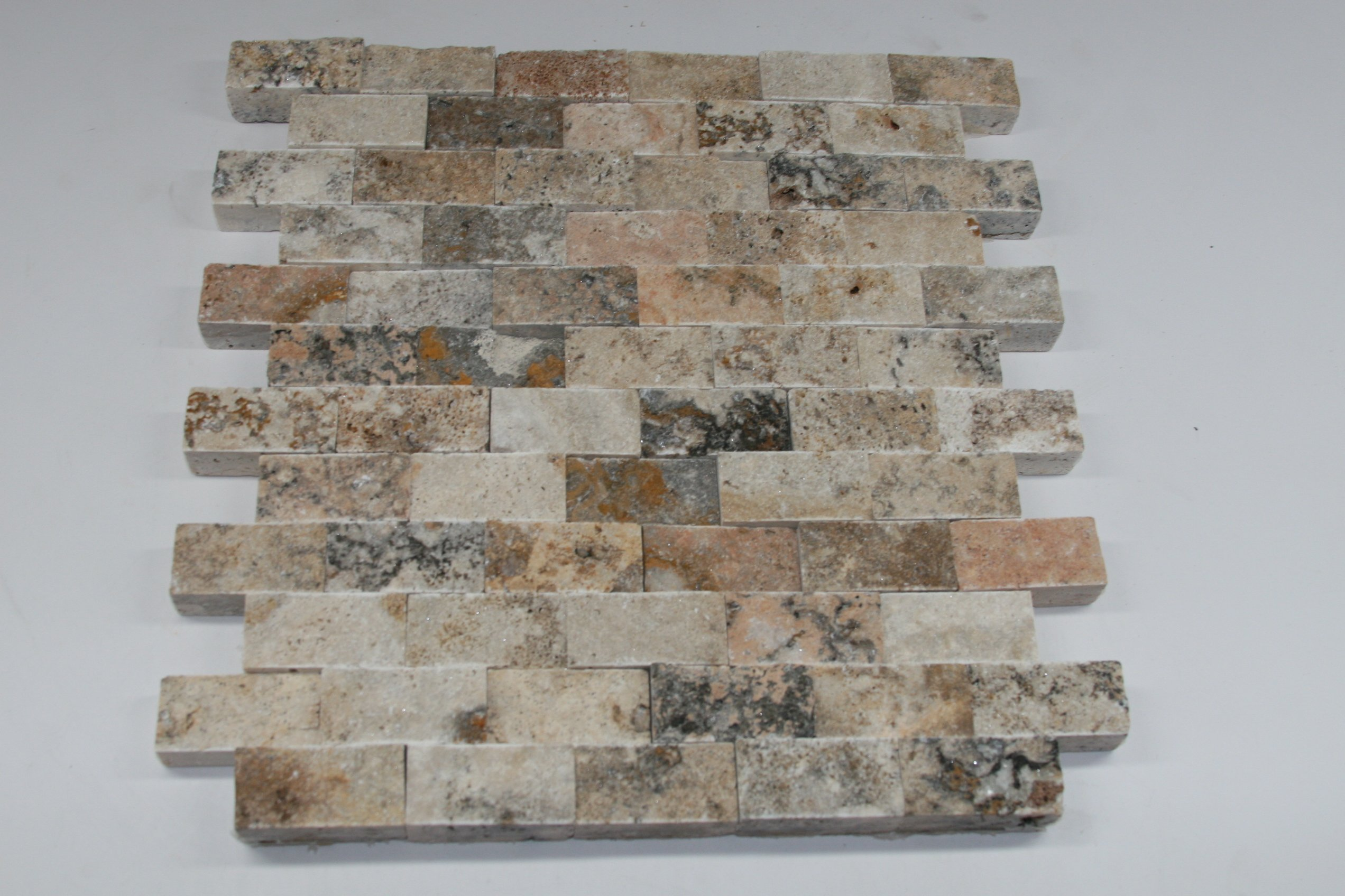 SCABOS TRAVERTINE 1''X2'' SPLIT FACE MOSAIC TILE