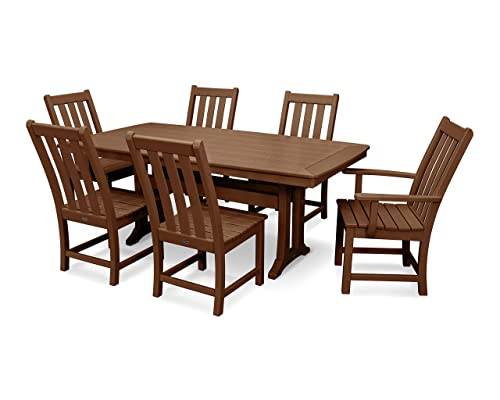 POLYWOOD Vineyard 7-Piece Nautical Trestle Dining Set Teak