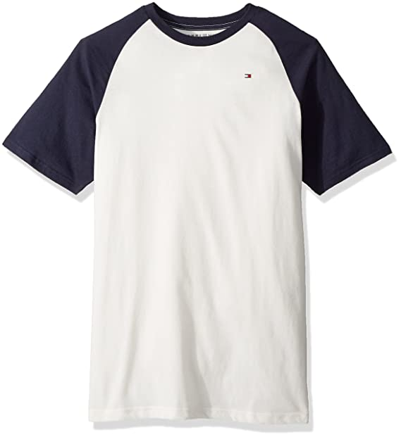 4deddc17 Tommy Hilfiger Boys' Big Short Sleeve Raglan T-Shirt, Ivory Cream, Small