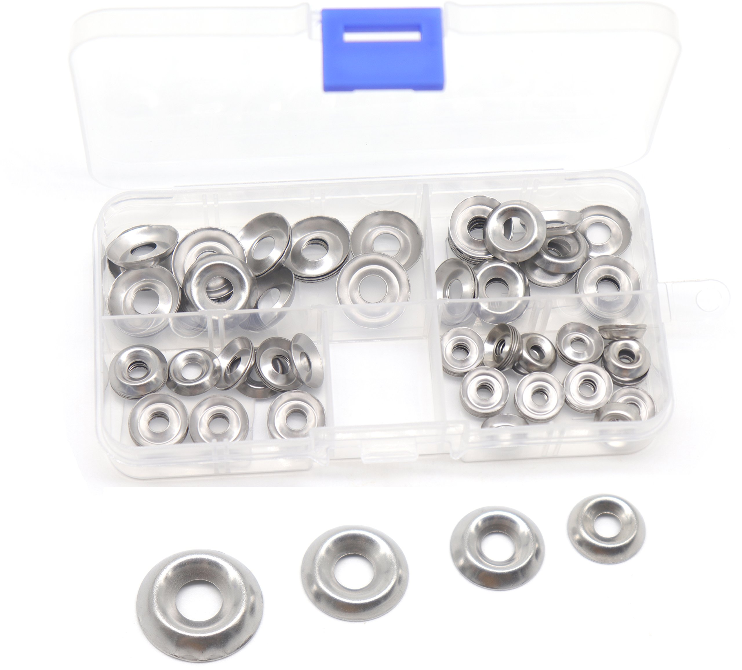 cSeao 110pcs Stainless Steel Finishing Cup Countersunk Washers Assortment Kit, 6#/ 8#/ 10#/ 12#