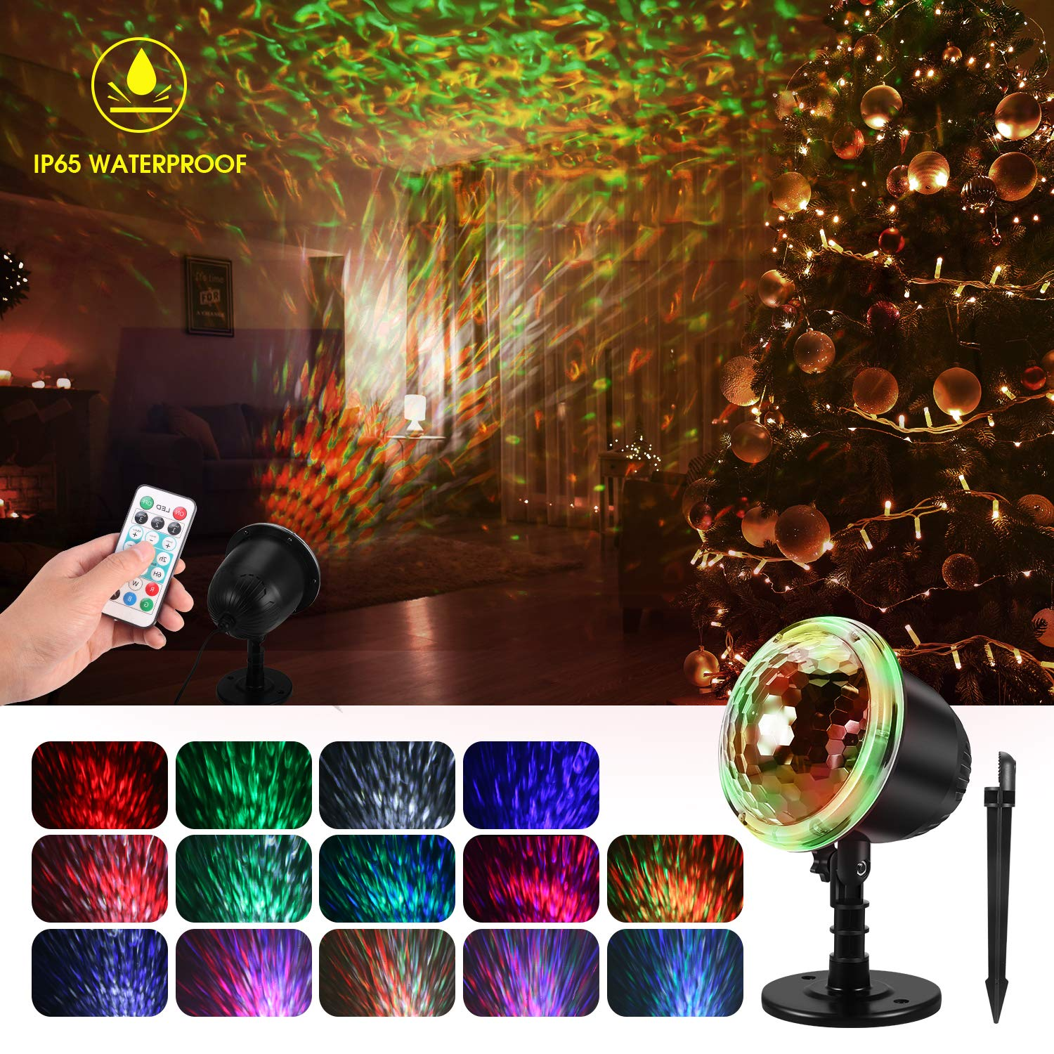 Water Wave Christmas Projector Lights, KINGWILL