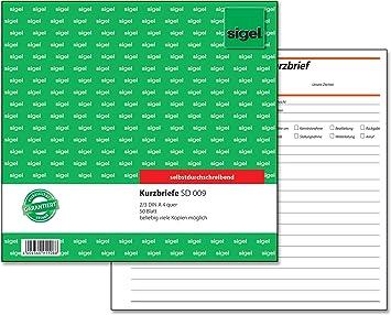 """sigel Formularbuch /""""Kurzmitteilung//Kurzbrief/"""" 1//3 A4 quer Blaupapier 100 Blatt"""